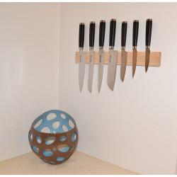 Knivmagnet i asketræ 7 knive 45 cm