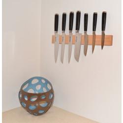 Knivmagnet i kirsebærtræ 7 knive 45 cm